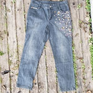 Boston Proper 4 Cropped Jeans Bling Sequins